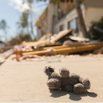 Debris from a demolished home that suffered hurricane damage in Florida